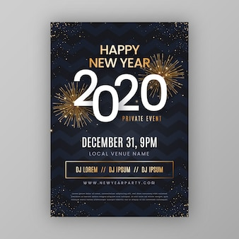 New year abstract party flyer template