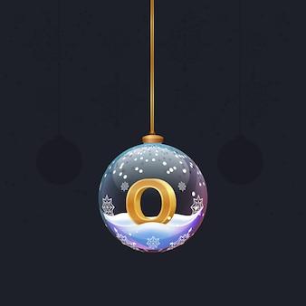 전나무 장식 디자인 요소 안에 황금 3d 문자 o와 함께 새 해 알파벳 크리스마스 장난감