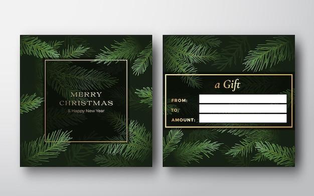 新年とクリスマスの抽象的なベクトルグリーティングギフトカードの背景の背面と前面のデザインレイアウトwi ...