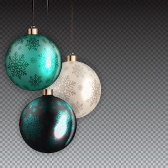 Новогодний и рождественский бал на прозрачном фоне. векторные иллюстрации