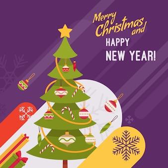 新年とクリスマスカードのイラスト