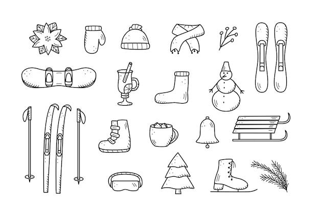 落書きスタイルの新年とクリスマスの要素。冬の衣類、スポーツ用品、トウヒ、食べ物や飲み物のベクトルイラスト。冬の休暇のアイコン。