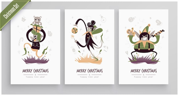 Коллекция новогодних и рождественских поздравительных открыток симпатичные праздничные персонажи и ситуации