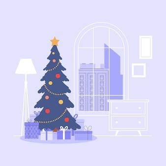 Новый год и праздник рождества христова. гостиная с елкой и горой подарков. уютный праздничный интерьер дома.