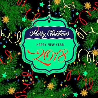 Новогодняя и рождественская надпись на теге
