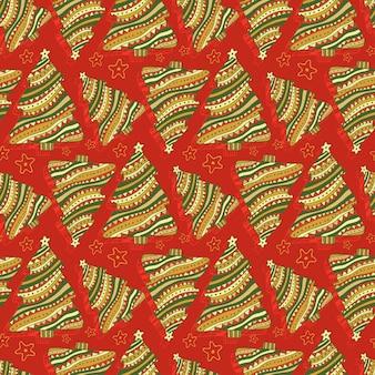 新年とクリスマスのシームレスなパターン。漫画ベクトル赤いテクスチャをラップします。