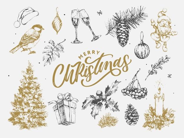 Новый год и рождество набор эскиза иллюстрации