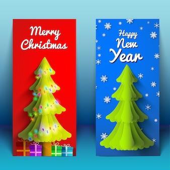 モミの木のライトガーランドとイラストを提示する新年とクリスマスの垂直バナー