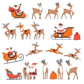 Празднование нового года и рождества зимой. санта-клаус и олени с санями и подарками, доставка подарков на рождество
