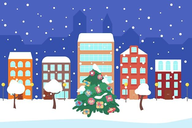 正月とクリスマス冬の夜の街の通り明るい街のパノラマ