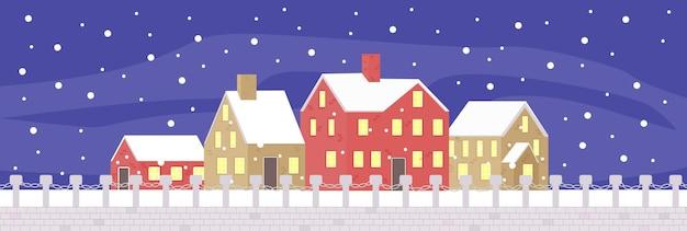 正月とクリスマス冬の夜の町の通り明るい町のパノラマ