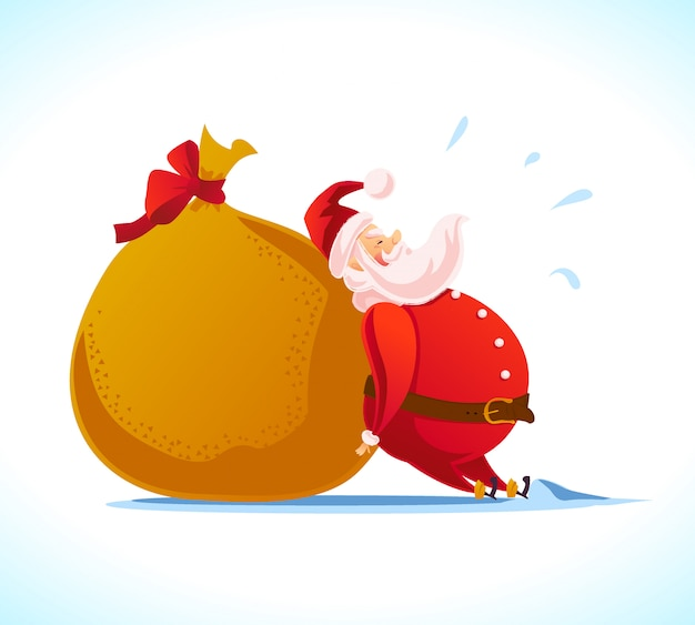 Новый год и счастливого рождества концепция. мультяшный стиль. портрет персонажа санта-клауса и подарочная сумка на белом фоне. хорошо подходит для рекламы рождественских поздравлений, открытки.