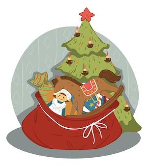 Празднование новогодних и рождественских зимних праздников. рождественская елка с гирляндами из звезд и свечей. красный мешок с подарками для детей. куклы и конфеты, большая лошадиная игрушка. вектор в плоском стиле