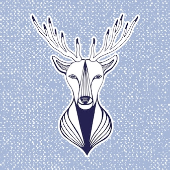 New year artwork with deer head. hipster print, sticker or element for design. vector line art hipster illustration.