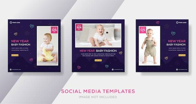 New year baby fashion sale banner template post.