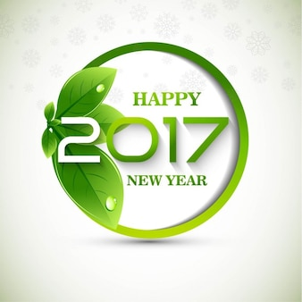New year background 2017 with green leaves
