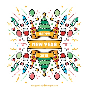 New year background 2018 with hand drawn party elements