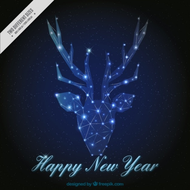 New year background of geometric reindeer made of lights