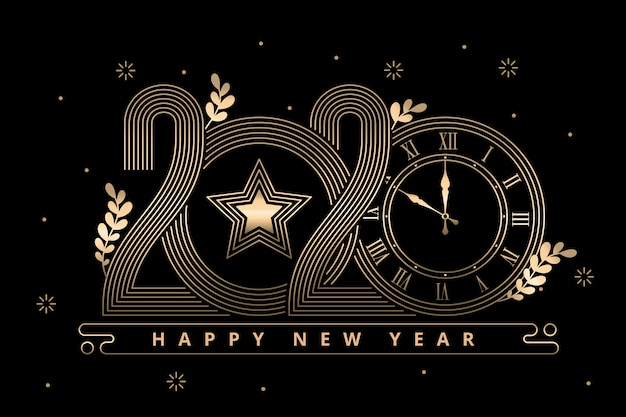 New year background in outline style