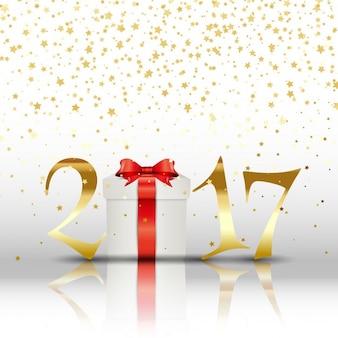 Счастливый новый год фон с подарками и золотыми буквами