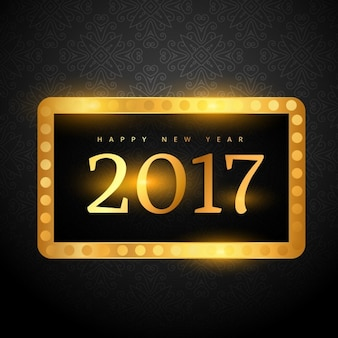 New year background with a golden frame and theater lights