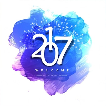 New year background with blue watercolor