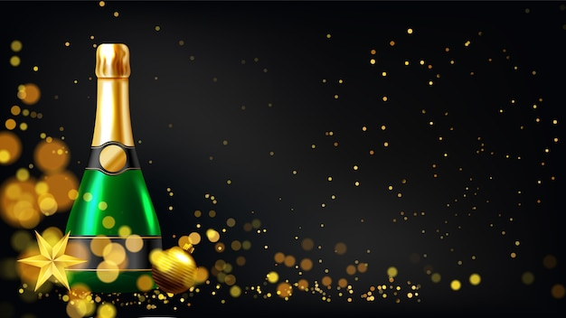 シャンパングラスと新年の背景