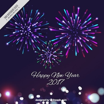 New year background with colorful fireworks