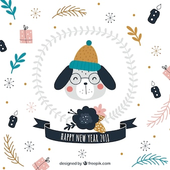 New year background with a cute dog wearing hat and glasses