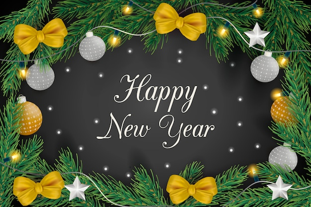 New year background with decorative balls