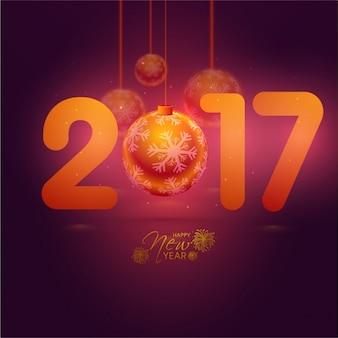 Новый год фон с декоративными шарами