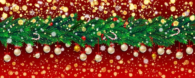 전나무 가지, 황금 색종이 조각, 크리스마스 공, 빨간색 배경에 눈송이가 있는 새해 배경. 벡터 일러스트 레이 션.