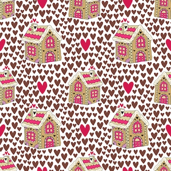 ジンジャーブレッドの家と心の新年の背景。スウィーツクッキーシームレスパターン