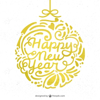 New year background with golden bauble