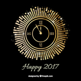 New year background with a golden clock