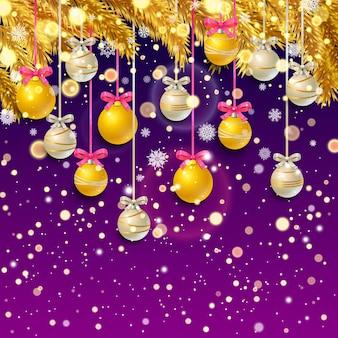 황금 전나무 가지 색종이와 크리스마스 공, 라일락 배경에 눈송이와 새해 배경. 벡터 일러스트 레이 션.