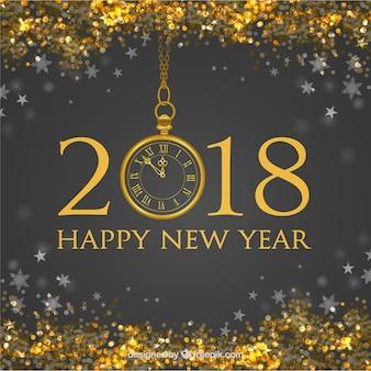 黄金の光沢のある新年の背景