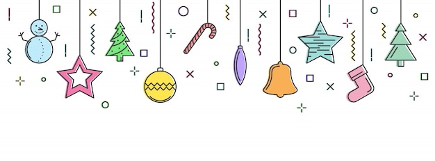New year background with hanging elements.