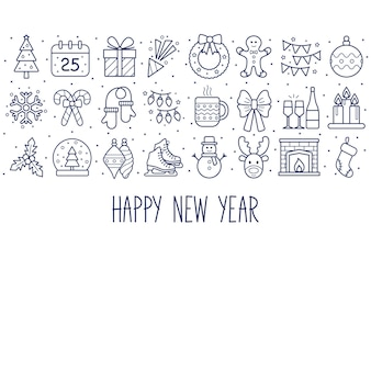 アイコンと新年の背景。あけましておめでとう。ベクトルイラスト
