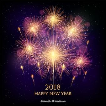 現実的な黄金の花火と新年の背景