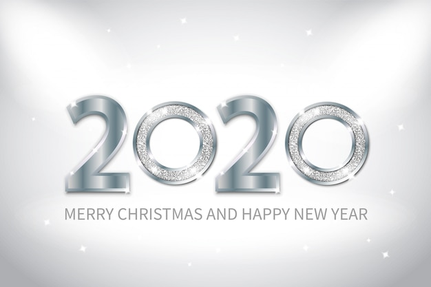 New year background with silver metal and glittering effect.