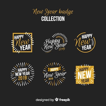 New year badges golden details collection