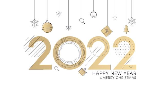 装飾が施された新年のバナー2022ゴールドのキラキラ数字落下する紙吹雪のリボンと星
