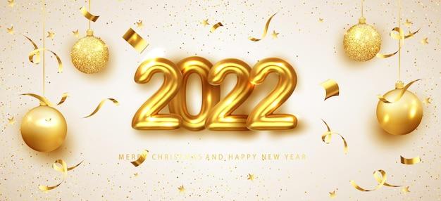 Новогодний баннер с украшением. золотые цифры 2022 года с золотыми шарами и мерцающим конфетти. для листовок для рождественских и зимних праздников. векторная иллюстрация