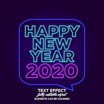 New year banner with neon effect