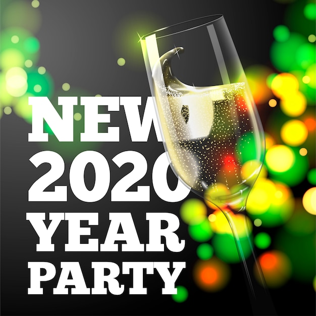 New year banner with transparent champagne glass on bright background