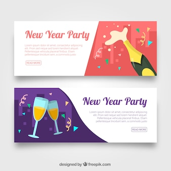 New year banners with champagne