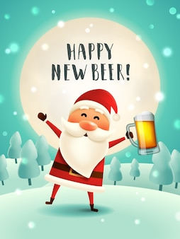 New year beer greeting card.