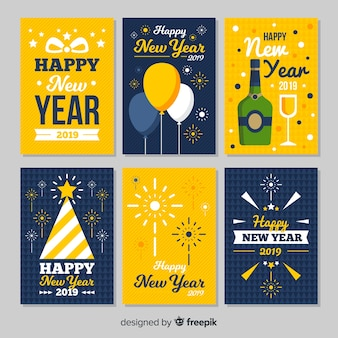 New year big elements cards pack