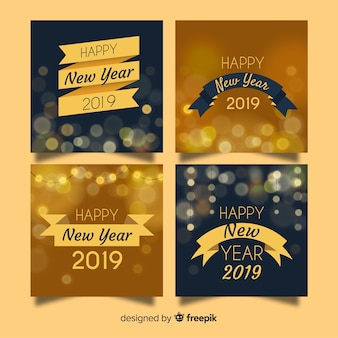 New year blurred lights cards pack
